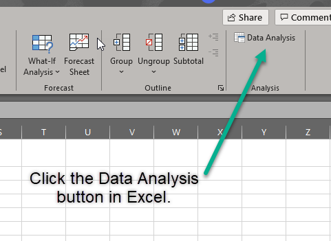 Data analysis button Excel
