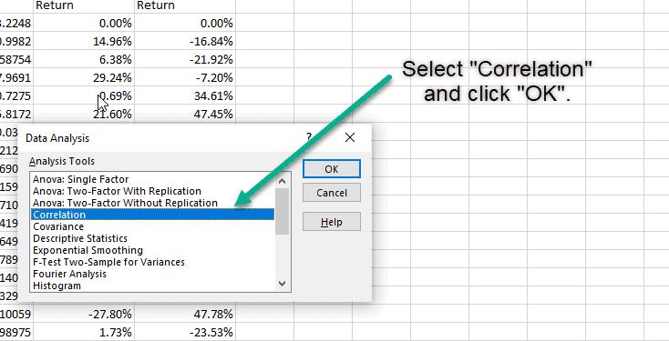 correlation matrix excel